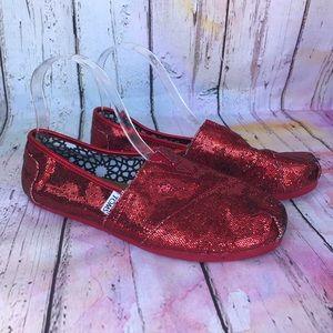 Toms Classics Red Glitter Flats